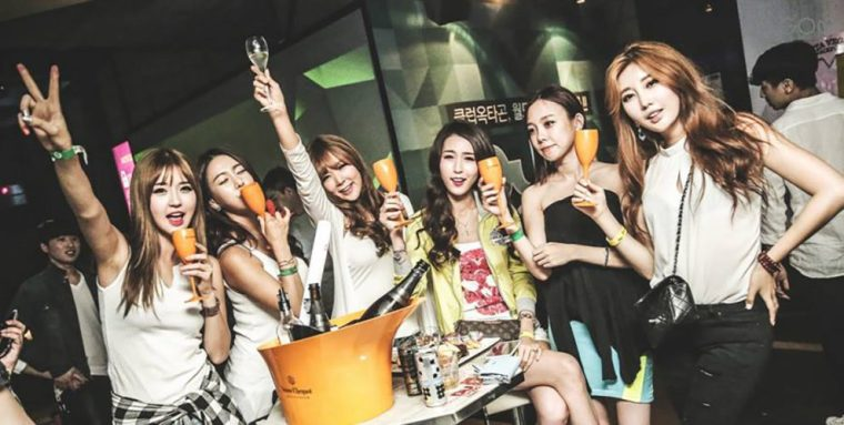 Korean girls partying in Seoul South Korea