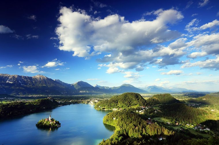 Cloudy view of Bled Slovenia