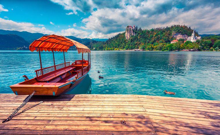 Boat at Lake Bled Slovenia