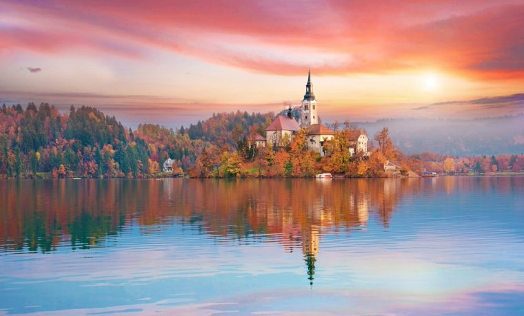 Colorful view Lake Bled