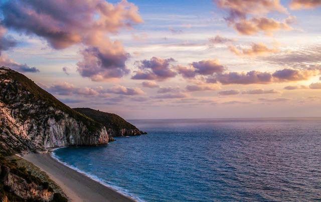 Sunset over Milos Beach Greece