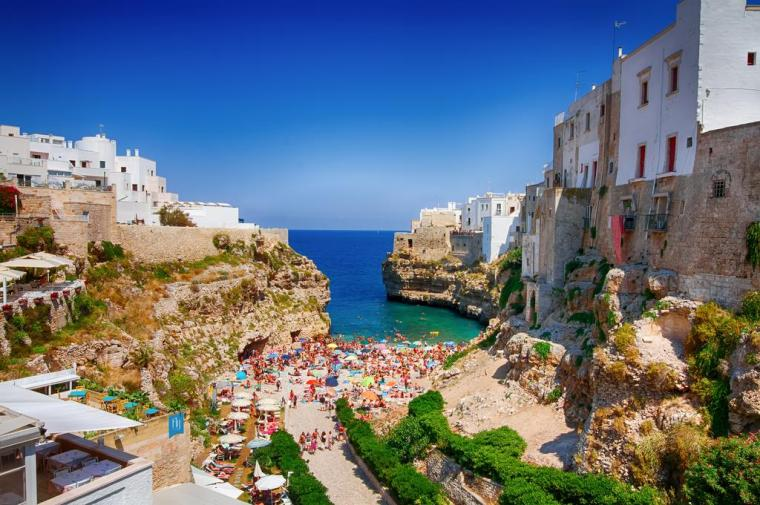 Southern Italy Polignano a Mare View of beach and houses