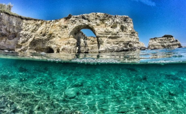 View of water and caves in Salento Southern Italy