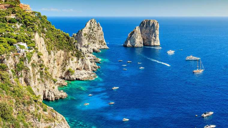 View of the ocean and cliffs in Capri Southern Italy