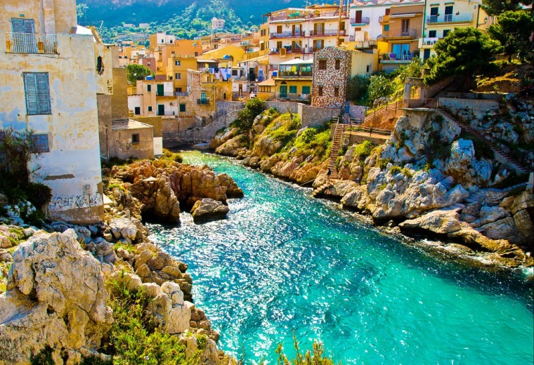 Sicily houses and water view Southern Italy